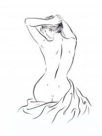 Original künstlerische minimalistische Akt Zeichnung, Frau Bild Tusche, Original  Zeichnung