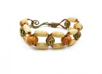 Armband aus Knochen Perlen und Messing Perlen / Ashanti / Geschenk für Frau / Mittelalter / Larp / Ethno / Boho / Hippie / Gothic