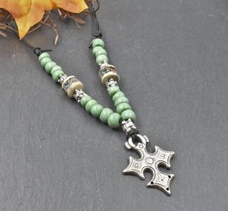 Kreuz von Agadez, Tuareg Schmuck, Berber Schmuck, Kreuz des Südens, Ton- und Knochen Perlen, Afrikanisch, Ethno