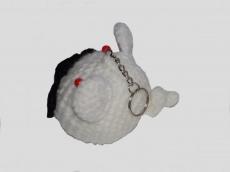 Handgemachte Maus als Schlüsselanhänger in Weiß