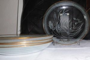 6 Vintage- Glasteller mit Goldrand 50er Jahre