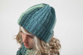 kuschelig warme Häkelmütze Mütze Wintermütze für Damen und Mädchen in Petrol - Handarbeit kaufen