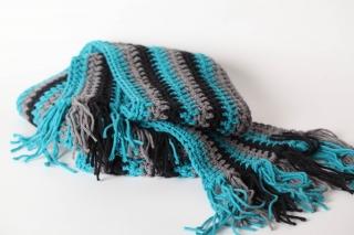 kuscheliger Schal für Männer oder Frauen in grau und petrol - Handarbeit kaufen