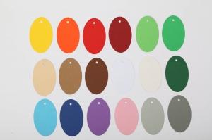 50 gestanzte Geschenkanhänger blanko oval zum Beschriften auch als Platzkarten verwendbar - viele Farben möglich