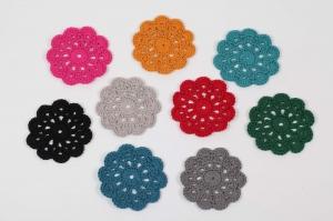 4 gehäkelte Tassenuntersetzer in Blumenform; romantisches Tischset Glasuntersetzer Farbe wählbar