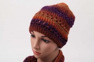 kuschelig warme Häkelmütze Mütze Wintermütze für Damen Beanie mit Degrade-Effekt in Terracotta - Handarbeit kaufen