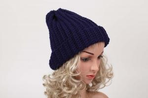 kuschelig warme Häkelmütze Mütze Wintermütze für Damen Beanie handgehäkelt in dunkelblau - Handarbeit kaufen