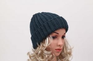 kuschelig warme Häkelmütze Mütze Wintermütze für Damen Beanie handgehäkelt in petrol - Handarbeit kaufen