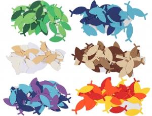 100 Fische als Streudeko (5 cm lang),, Konfetti, Stanzteile zur Kartengestaltung für viele Anlässe - Handarbeit kaufen