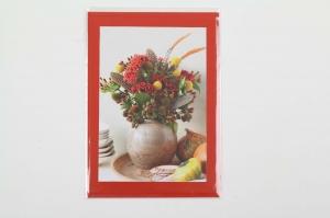 Grußkarte, upcycled aus einem Kalender  Karte mit Blumen Klappkarte Faltkarte Blumenkarte Herbstrauß - Handarbeit kaufen