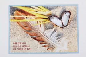 Grußkarte, upcycled aus einem Kalender  Karte mit Spruch Klappkarte Faltkarte  - Handarbeit kaufen