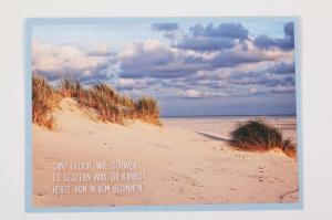 Grußkarte, upcycled aus einem Kalender  Karte mit Blumen Klappkarte Faltkarte Dünen - Handarbeit kaufen