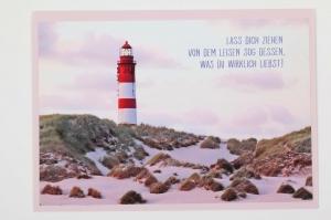Grußkarte, upcycled aus einem Kalender  Karte Klappkarte Faltkarte Strand Leuchtturm - Handarbeit kaufen