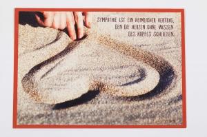 Grußkarte, upcycled aus einem Kalender  Karte Klappkarte Faltkarte Strand Spruchkarte mit Herz - Handarbeit kaufen