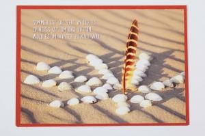 Grußkarte, upcycled aus einem Kalender  Karte Klappkarte Faltkarte Strand Spruchkarte Glückwunschkarte
