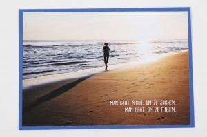 Grußkarte, upcycled aus einem Kalender  Karte Klappkarte Faltkarte Strand Spruchkarte Strandspaziergang - Handarbeit kaufen