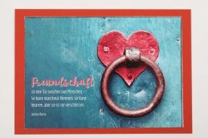 Grußkarte, upcycled aus einem Kalender  Karte Klappkarte Faltkarte Spruchkarte mit Herz  - Handarbeit kaufen