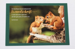 Grußkarte, upcycled aus einem Kalender  Karte Klappkarte Faltkarte Strand Spruchkarte Eichhörnchen