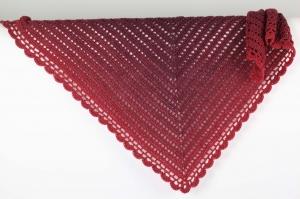 XL Dreieckstuch gehäkelt Schultertuch, Tuch,  leicht und wärmend aus Farbverlaufsgarn in rot-Tönen - Handarbeit kaufen
