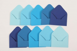 10 Mini Umschläge / Kuverts Umschlag für Geldgeschenk Blau Töne Kuvert