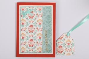 Grußkarte Gutscheinkarte mit Umschlag und Geschenkanhänger f. alle Anlässe in Handarbeit erstellt - Handarbeit kaufen