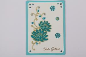 Glückwunschkarte Grußkarte mit Sticker verziert  - Handarbeit kaufen
