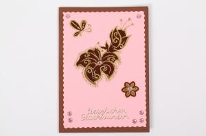 Glückwunschkarte Grußkarte mit Sticker und Schmucksteinen verziert - Handarbeit kaufen