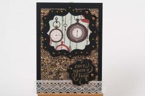 nostalgische Grußkarte Karte in Handarbeit hergestellt mit Spitze verziert - Handarbeit kaufen