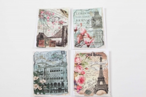 4er Set handgemachte Karten als Grußkarte romantisch verspielt - Handarbeit kaufen