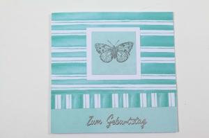 edle Geburtstagskarte mit Schmetterling und Stickern - Handarbeit kaufen