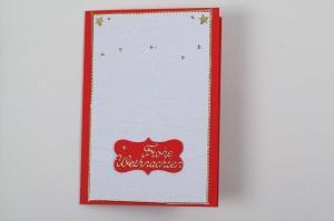 gebastelte Weihnachtskarte mit geprägtem Hintergrund  - Handarbeit kaufen