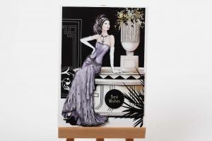Edle 3D-Karte mit Frau in Abendgarderobe als Grußkarte oder auch Einladungskarte - Handarbeit kaufen