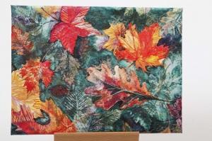 Wandbild in Serviettentechnik / Decoupage auf Leinwand-Rahmen perfekt für die Herbstdekoration - Handarbeit kaufen