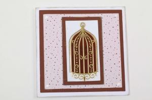 edle Grußkarte mit Stickern und Stempelfarbe verziert  - Handarbeit kaufen
