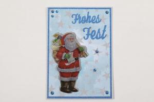Weihnachtskarte Frohes Fest 3D Weihnachtsmann Karte mit Glitzer - Handarbeit kaufen