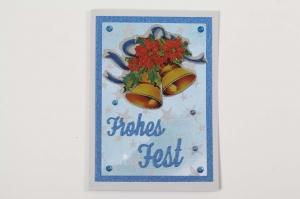 Weihnachtskarte Frohes Fest 3D Weihnachtsglocke Karte mit Glitzer  - Handarbeit kaufen