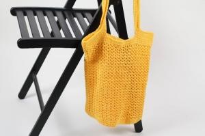 gehäkelte Einkaufstasche / Einkaufsnetz auch als Strandtasche zu verwenden