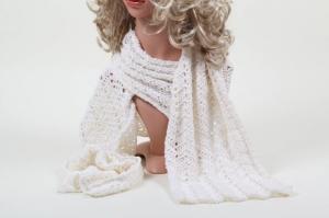 XL Schal gehäkelt aus edler Baumwollmischung mit Kaschmir und Seide