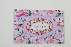 romantische Grußkarte Karte in Handarbeit im Vinage-Look hergestellt: with Love - Handarbeit kaufen