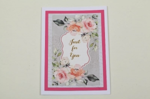 romantische Grußkarte Karte in Handarbeit im Vinage-Look hergestellt: Just for You - Handarbeit kaufen