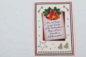außergewöhnliche Weihnachtskarte in 3D Karte mit Weihnachtsglöckchen - Handarbeit kaufen