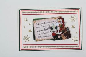 außergewöhnliche Weihnachtskarte in 3D Karte mit dem Weihnachtsmann - Handarbeit kaufen
