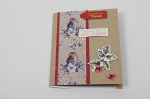 schlichte Weihnachtskarte im Vintage-Style handgefertigt - Handarbeit kaufen
