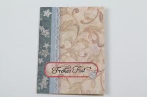 klassische Weihnachtskarte im Vintage-Style in aufwändiger Handarbeit hergestellt - Handarbeit kaufen