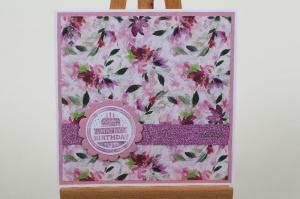 edle Geburtstagskarte mit Blumen und Glitter handgefertigt und verziert - Handarbeit kaufen