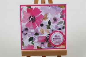 edle Geburtstagskarte mit Blumenmuster handgefertigt und verziert - Handarbeit kaufen