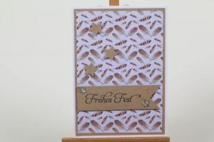 schöne Weihnachtskarte in aufwändiger Handarbeit hergestellt: Frohes Fest - Handarbeit kaufen