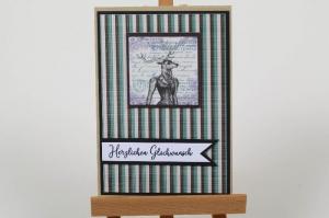 Glückwunschkarte in Handarbeit hergestellt für viele Anlässe im Vintage-Stil - Handarbeit kaufen