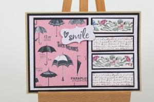 Grußkarte in Handarbeit hergestellt, lächle auch bei Regen - Handarbeit kaufen