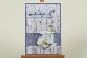 schöne Weihnachtskarte in aufwändiger Handarbeit hergestellt: Vogelhäuschen - Handarbeit kaufen